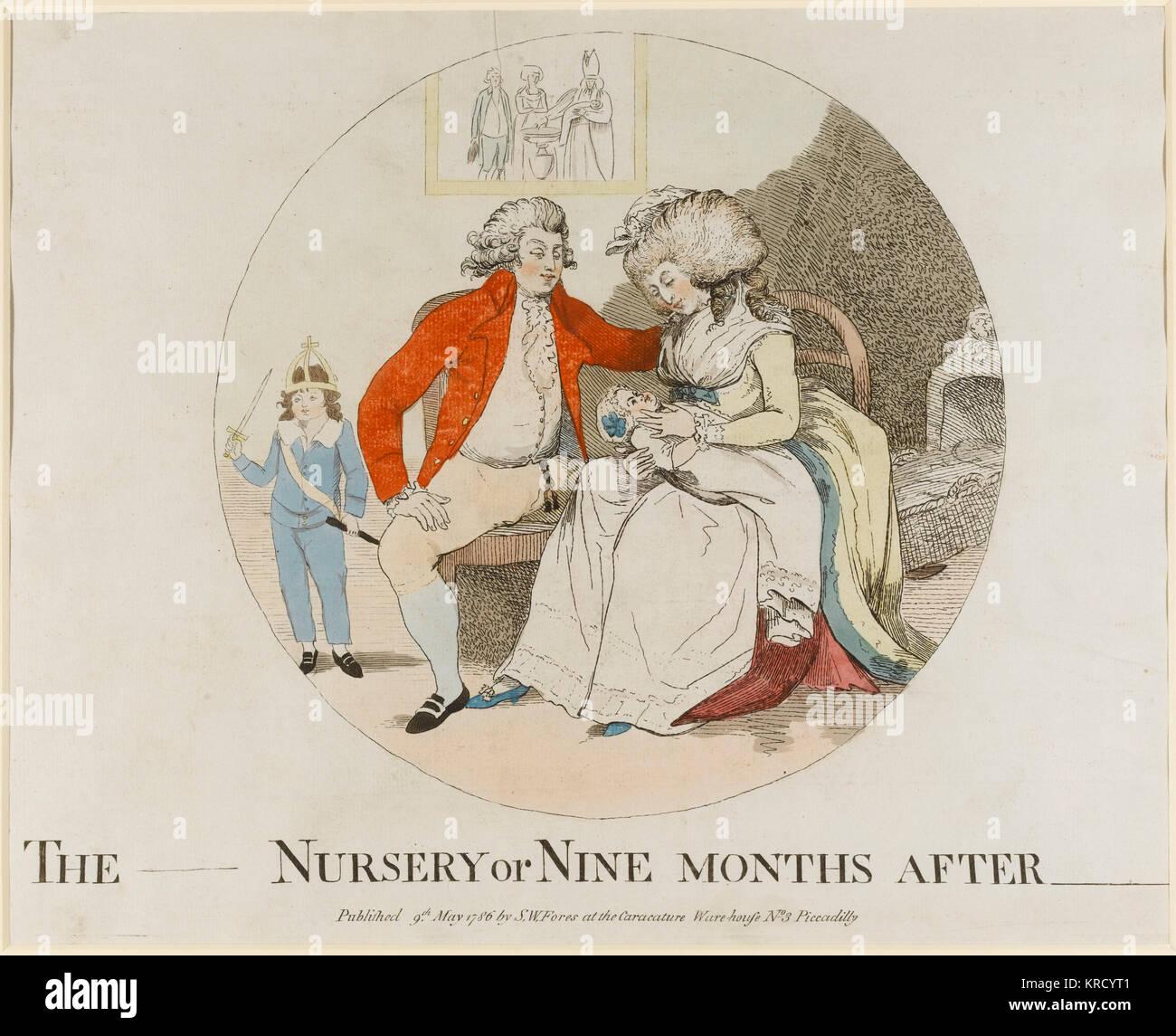 Caricatura satírica, el _____ vivero o nueve meses después de ________. La impresión visualiza un Imagen De Stock