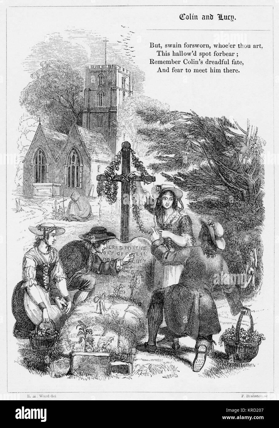 LUCY y Colin. Balada británica por Thomas Tickell (1685-1740), basado en la tradicional Feria Margaret y William dulce balada. Fecha: 1853 Foto de stock