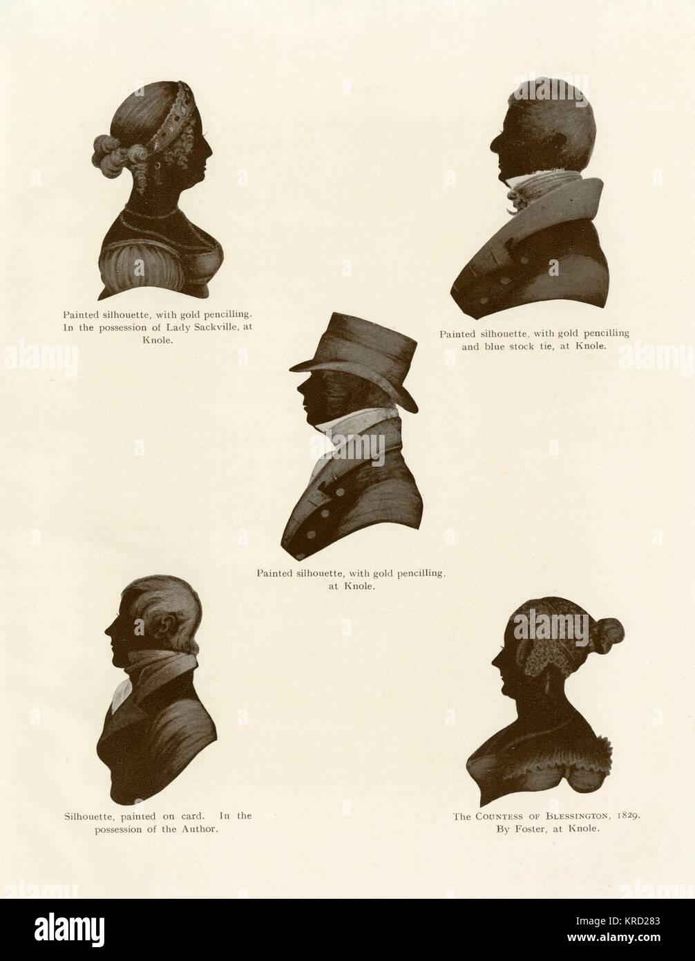 Un grupo de retratos de silueta desde el periodo de la Regencia. En el sentido de las agujas del reloj desde la Imagen De Stock