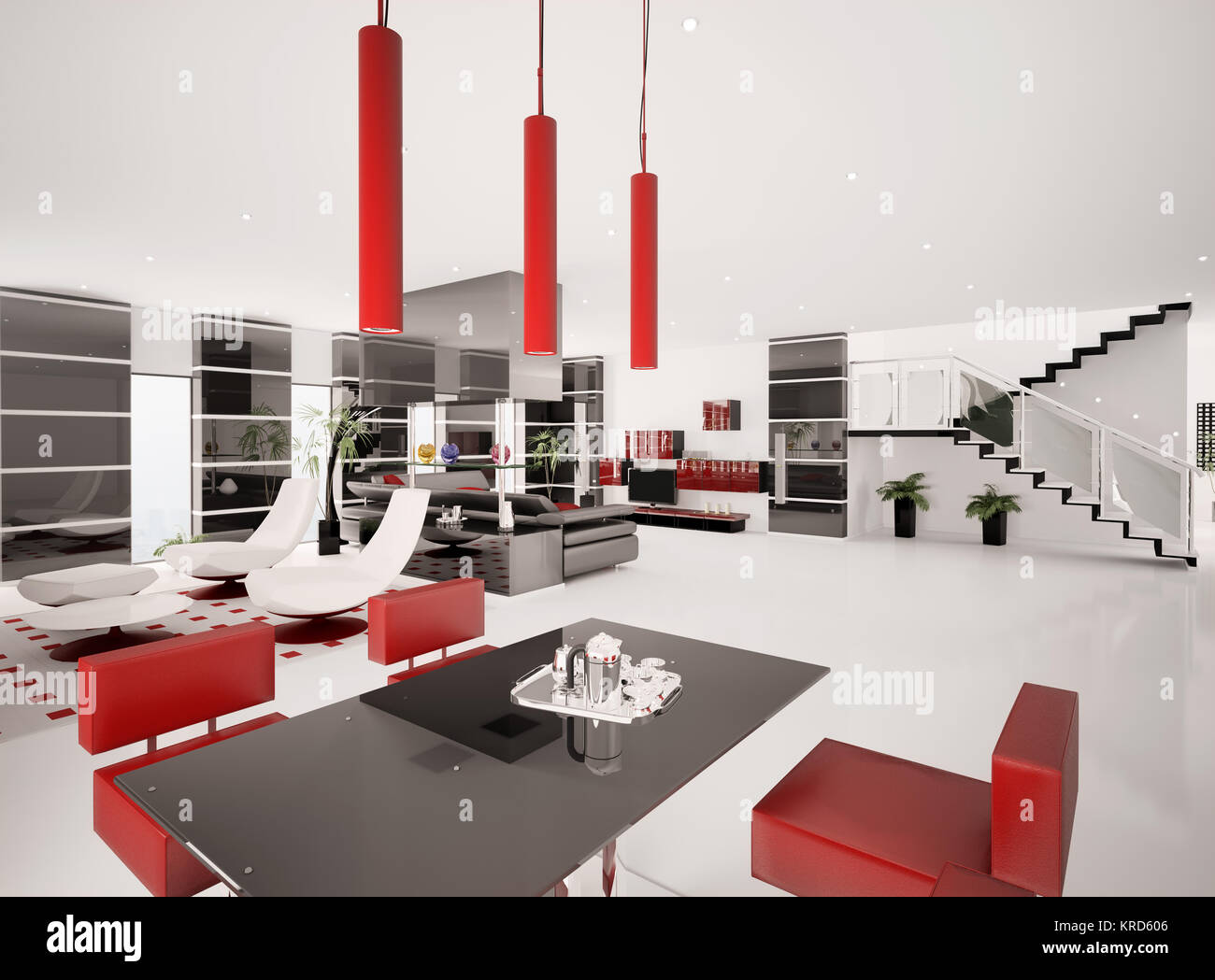 El interior del apartamento moderno salón comedor 3D Render ...