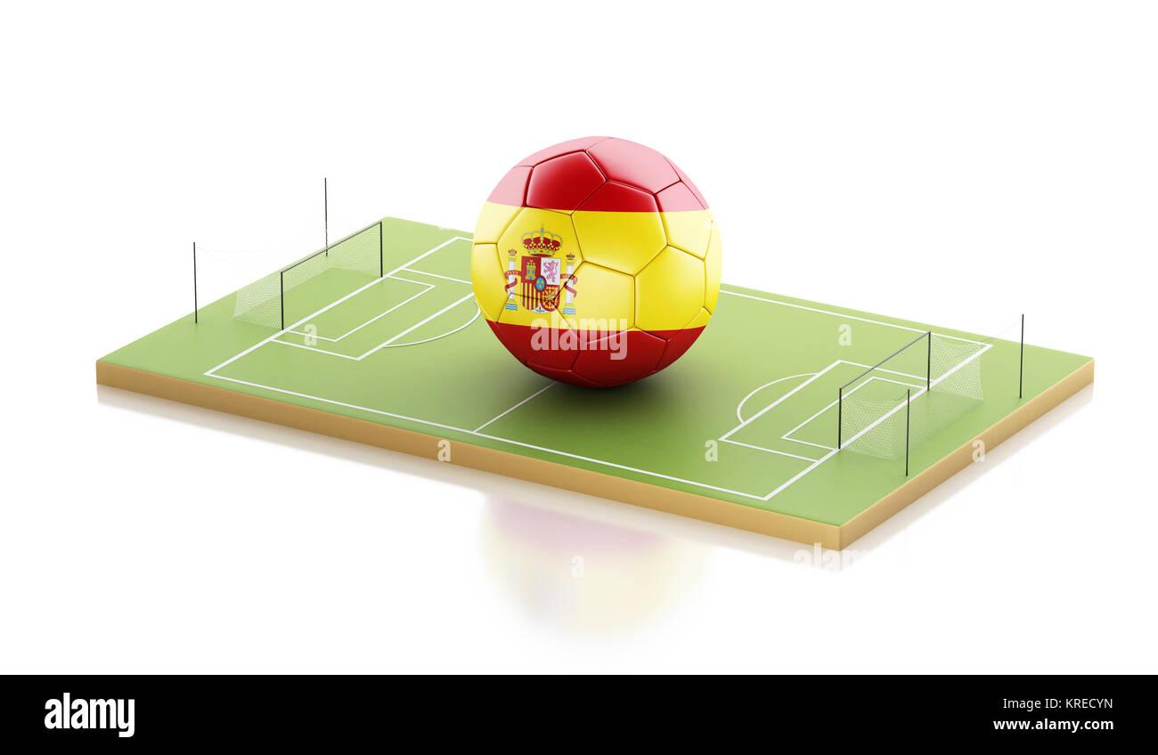 Copie el espacio en el lado derecho - 3D Rendering. M93A2B (RF).  Ilustración 3d. España una pelota de fútbol en un campo de fútbol. Concepto  de 637ce508f0b4d