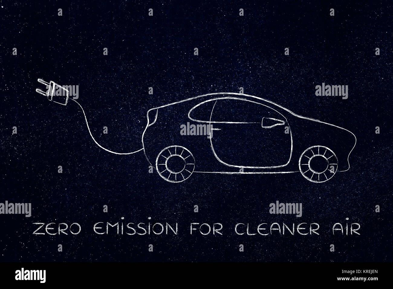 Los coches eléctricos e híbridos: vehículo con gran gracioso plug Imagen De Stock