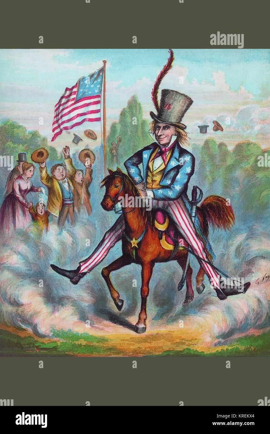 El Tío Sam a caballo Foto de stock