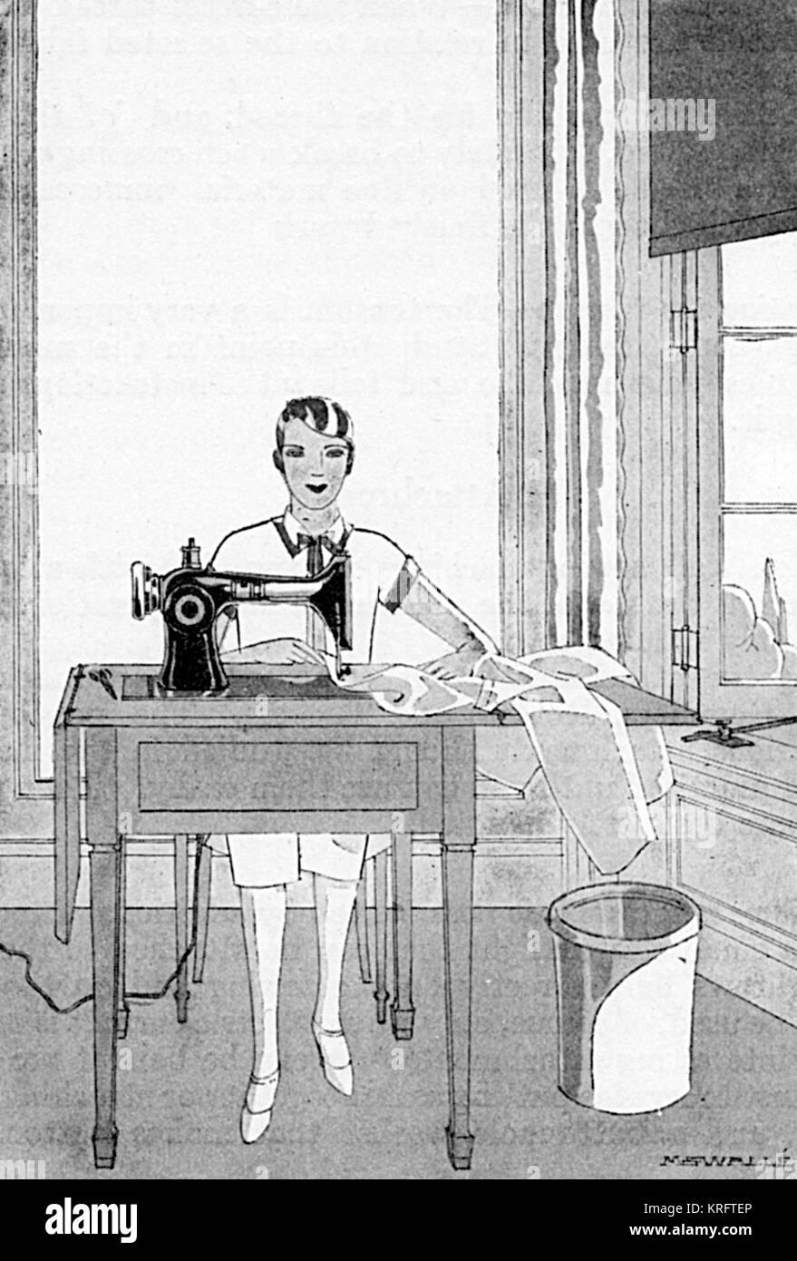 Una elegante dama con cabello bobbed utiliza una máquina de coser sobre una  mesa de trabajo a144e28398d