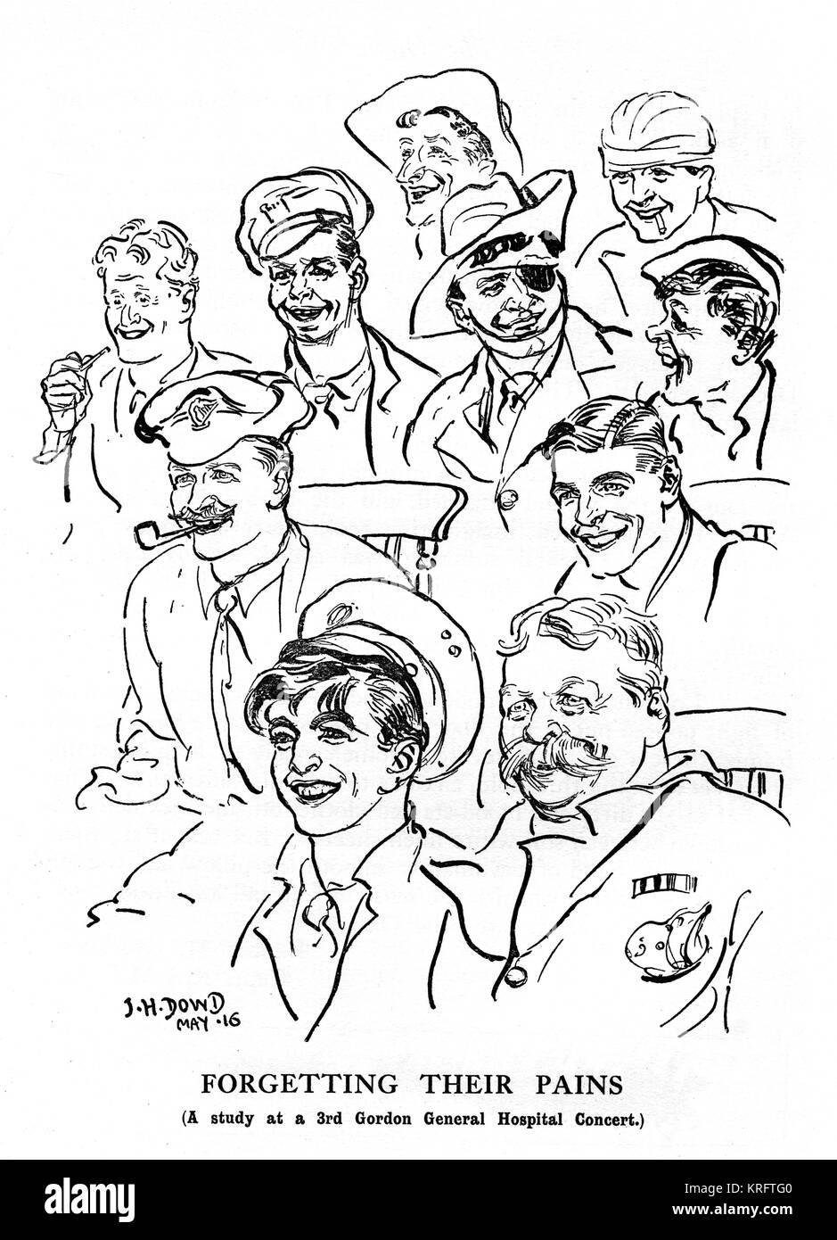 Un estudio de los diversos rostros de soldados convalecientes disfrutando del entretenimiento en el tercer concierto Imagen De Stock