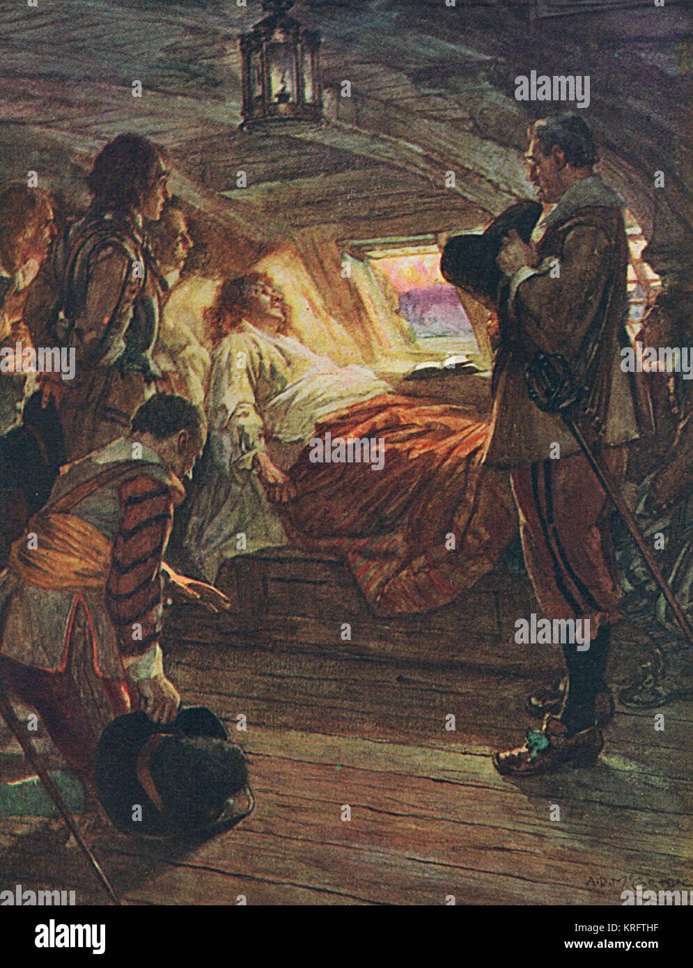 La muerte del Almirante Robert Blake (1599 - 1657), parlamentarias comandante naval, a bordo de su barco regresaba de Cádiz donde había estado al mando de la flota inglesa durante la guerra anglo-españolas. Murió de viejas heridas de guerra dentro de la vista de Plymouth. Fecha: 1914 Foto de stock