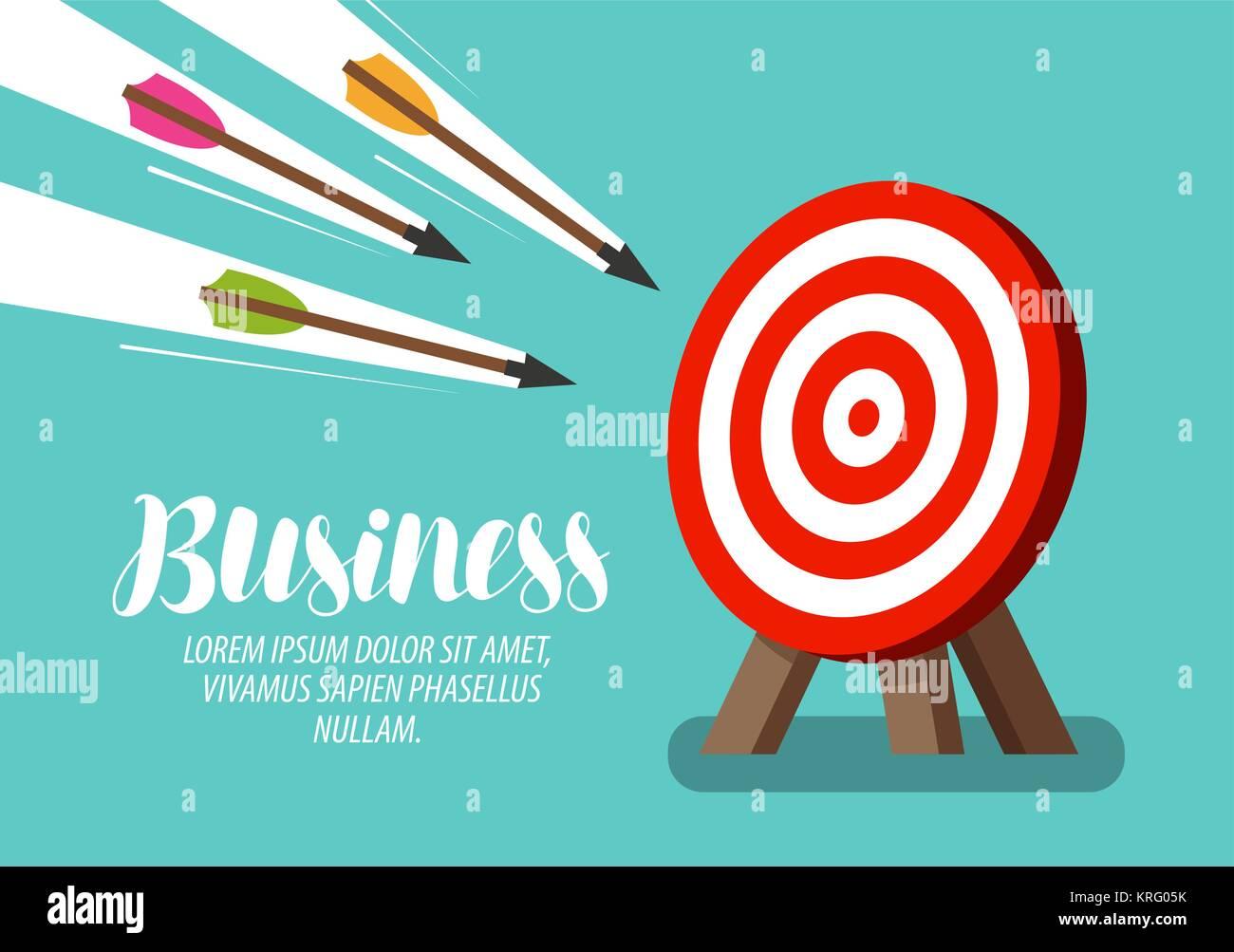 Objetivo y volar flechas. Concepto de negocio. Ilustración vectorial Imagen De Stock