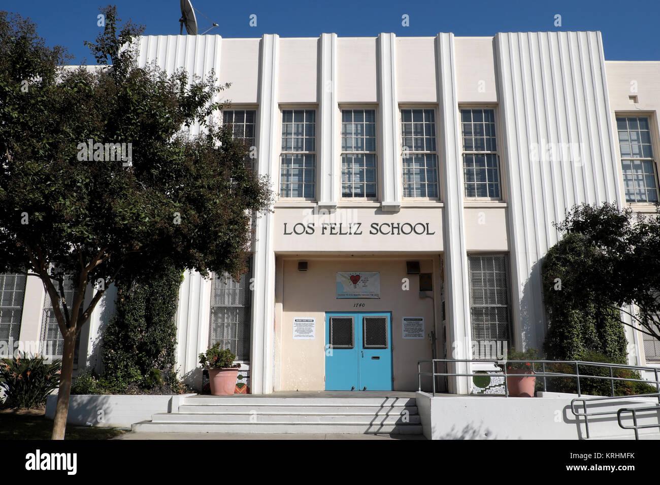 Vista exterior de los Feliz School en Los Angeles, California, EE.UU. Kathy DEWITT Imagen De Stock