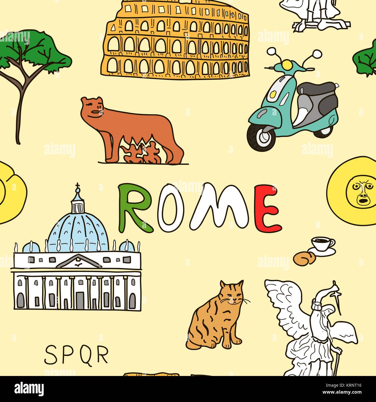 Patrón de Color de los símbolos de Roma Imagen De Stock
