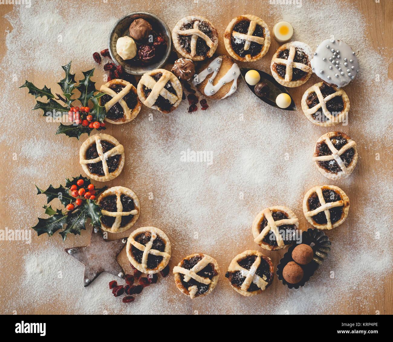 Pasteles de carne picada de Navidad Imagen De Stock