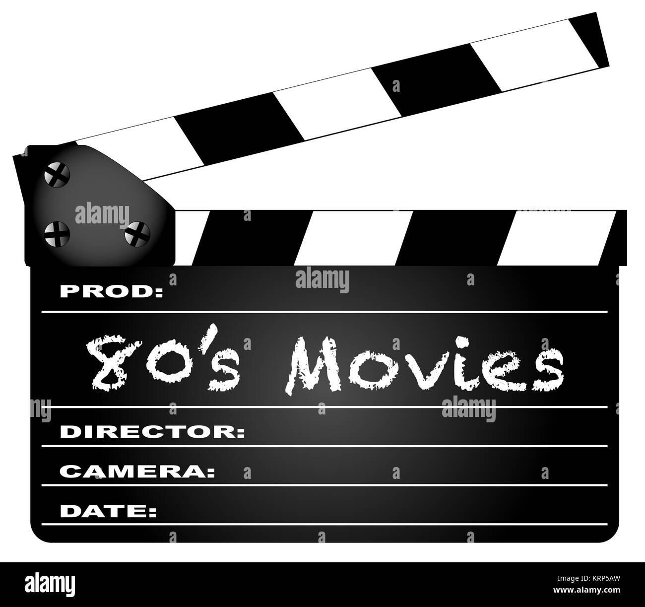 80's películas Clapperboard Imagen De Stock