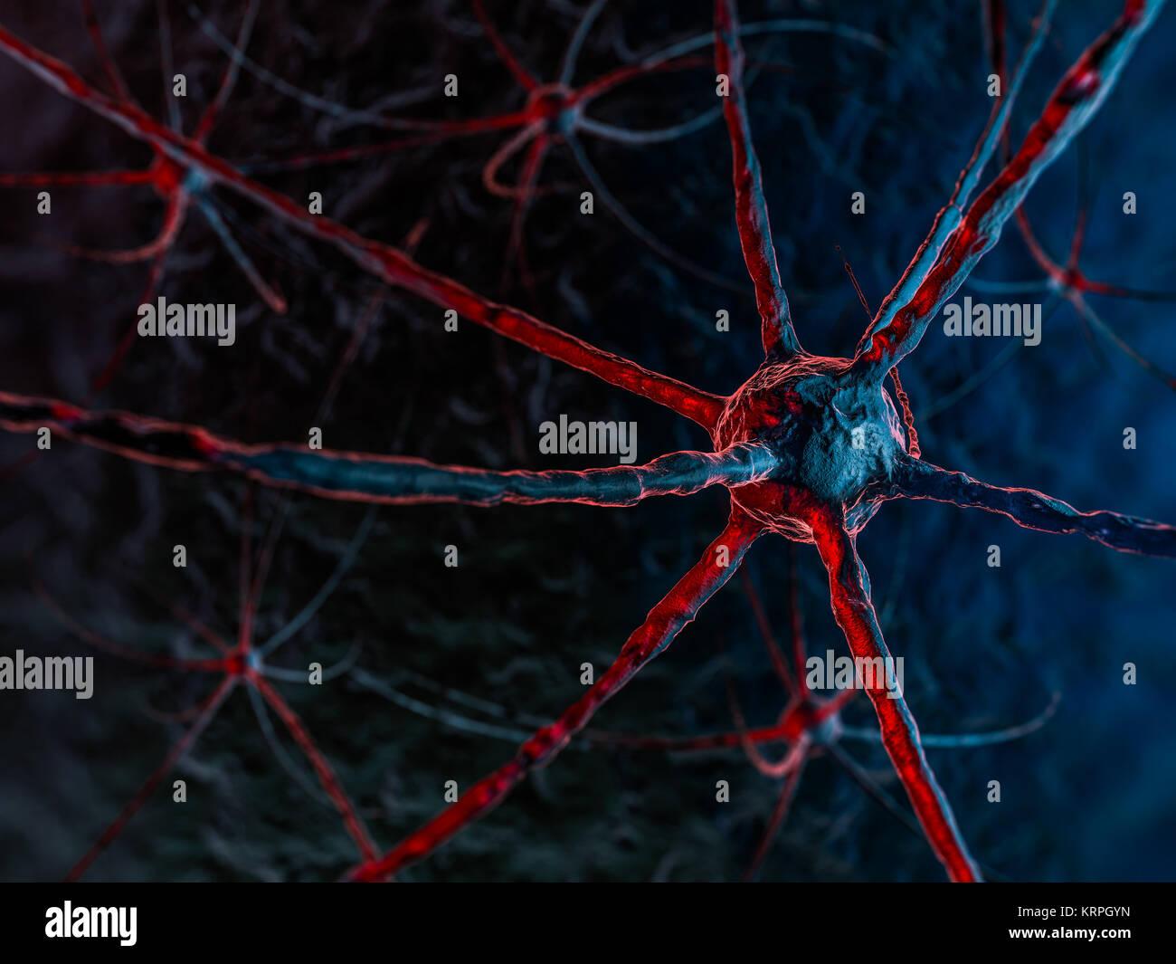 Red neuronal sobre un fondo azul oscuro. 3D rendering Imagen De Stock