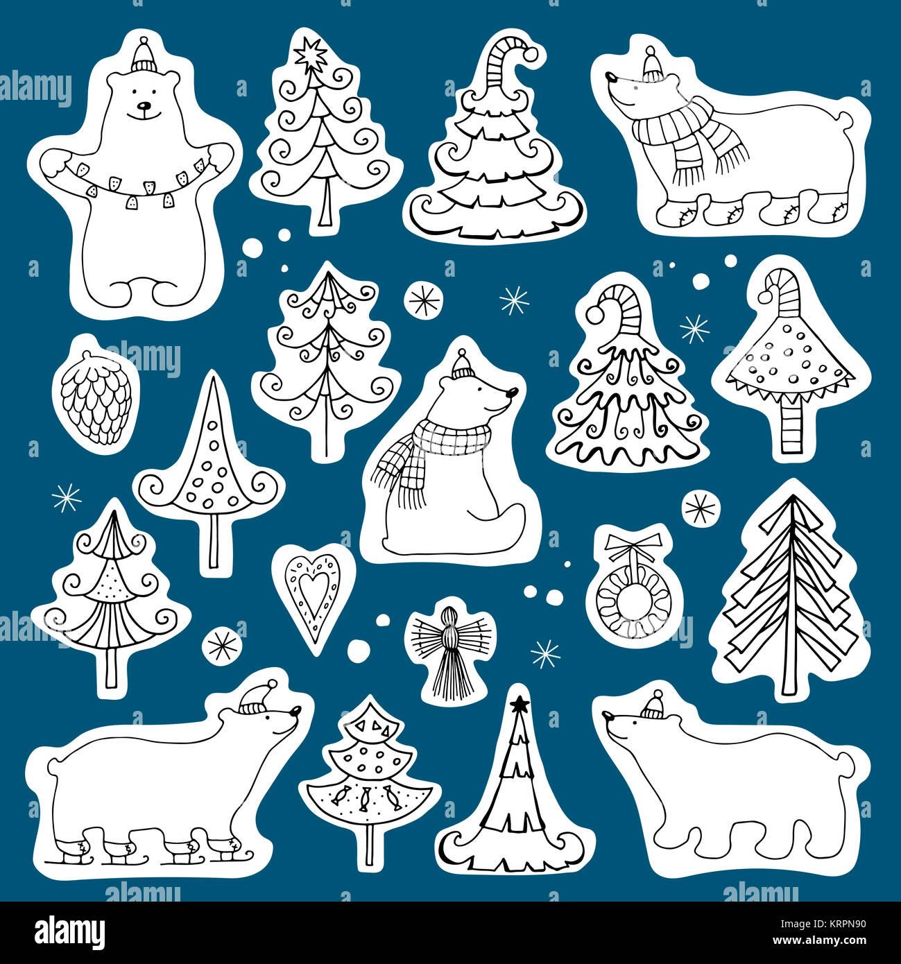 Conjunto de iconos de osos polares y árboles de Navidad Imagen De Stock