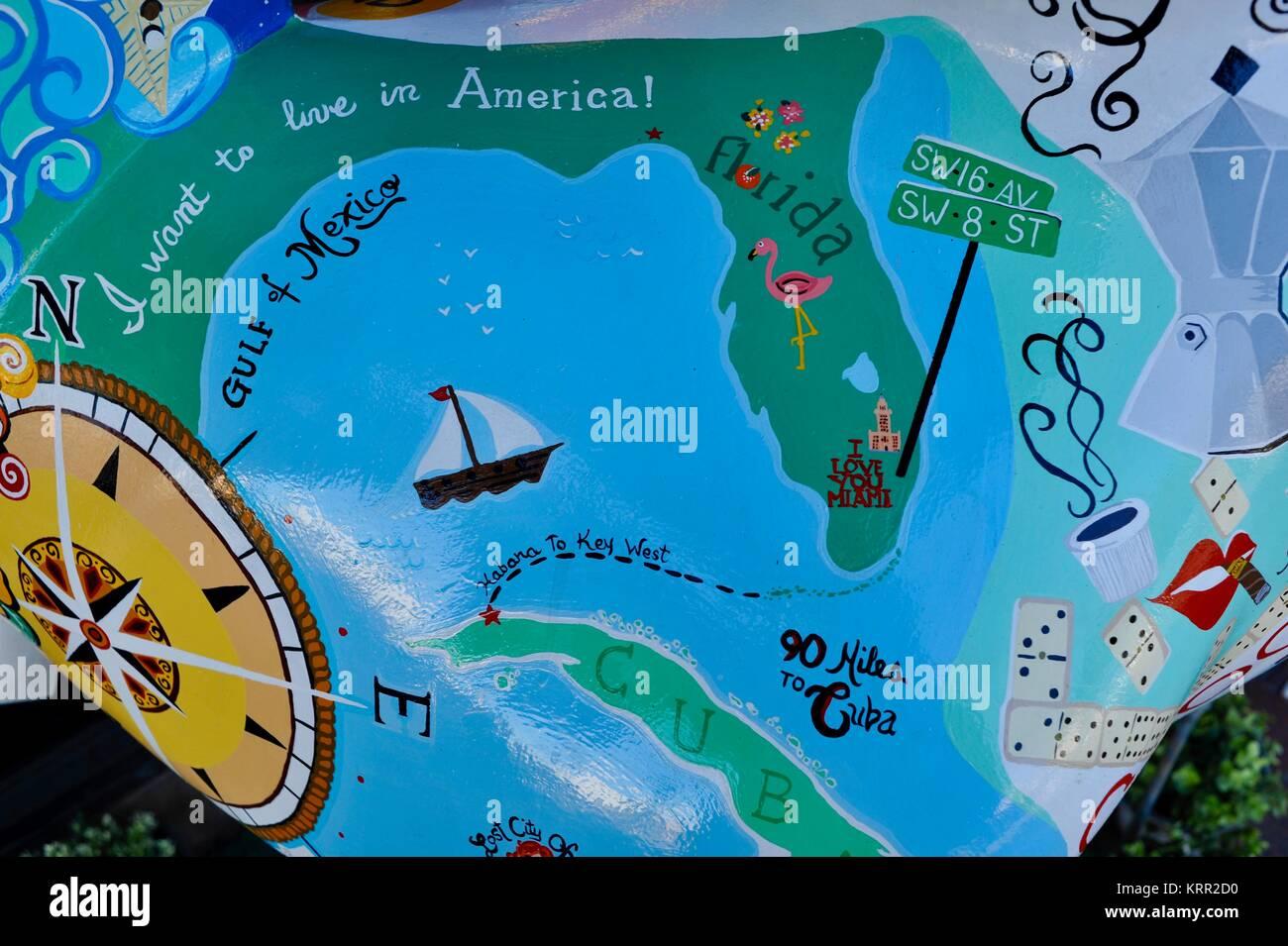 Mapa de cuba florida y el golfo de mxico en el pintado de mapa de cuba florida y el golfo de mxico en el pintado de esculturas en la calle ocho la pequea habana en miami florida eeuu gumiabroncs Image collections