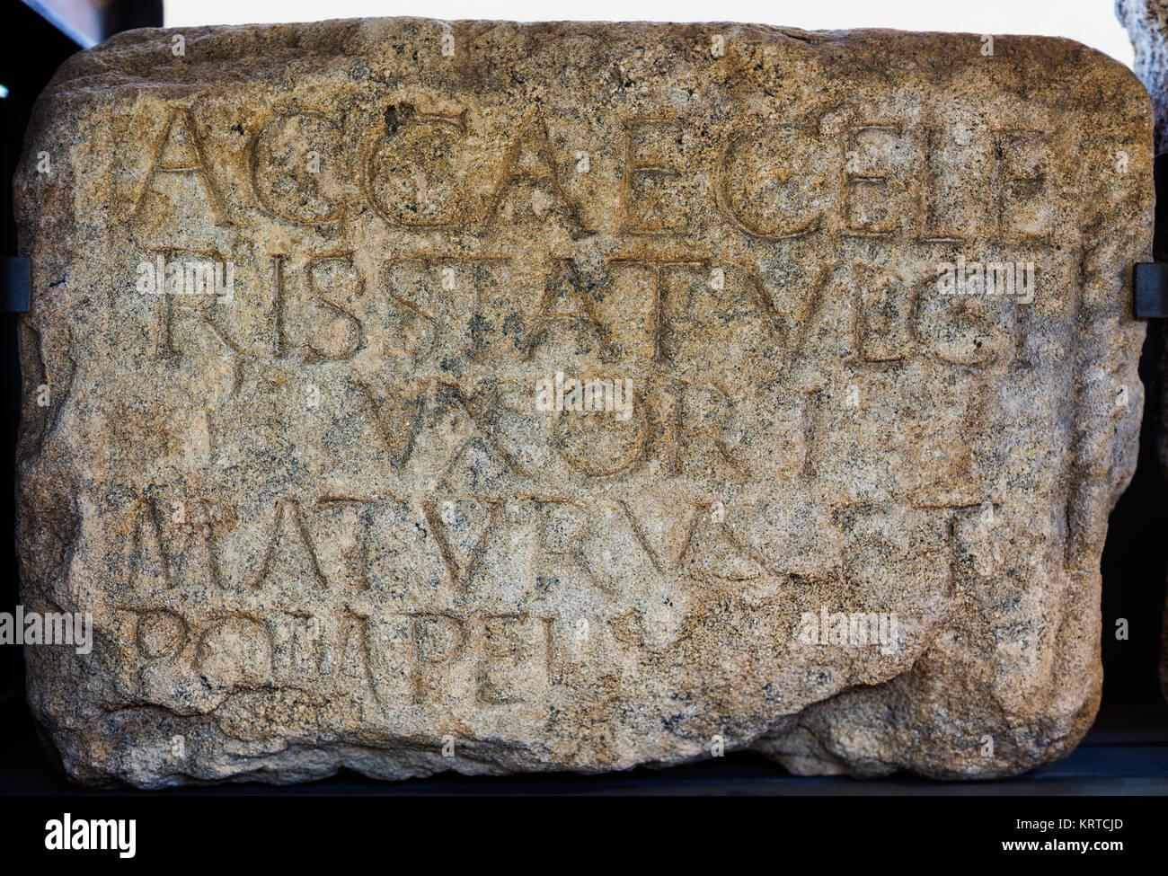 Un ACA, hijas de Celer, esposa de Estatulico. Maturo y pompeia mandaron hacer. Imagen De Stock