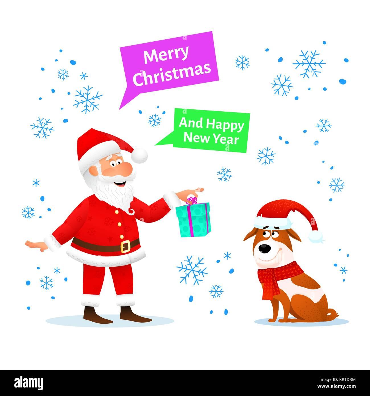 cabd0511a0a95 Feliz Navidad tarjeta. Funny Santa Claus con regalo de Navidad y perro en  red hat sobre fondo de navidad con copos de nieve. Holiday pancarta o póster .