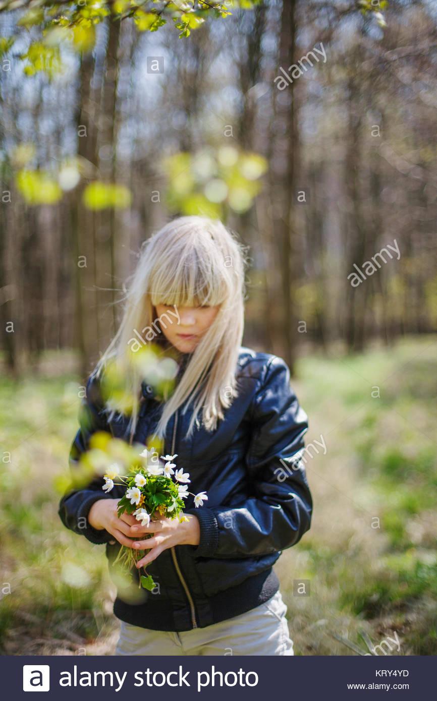Niña recogiendo flores en un bosque Imagen De Stock