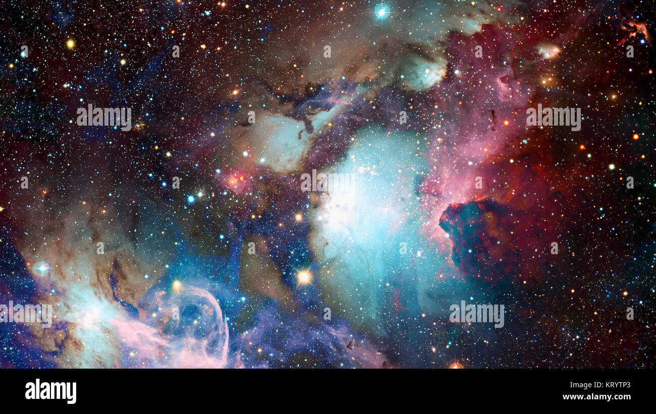 Las nubes cósmicas de niebla sobre fondos de colores brillantes. Elementos suministrados por la NASA Imagen De Stock
