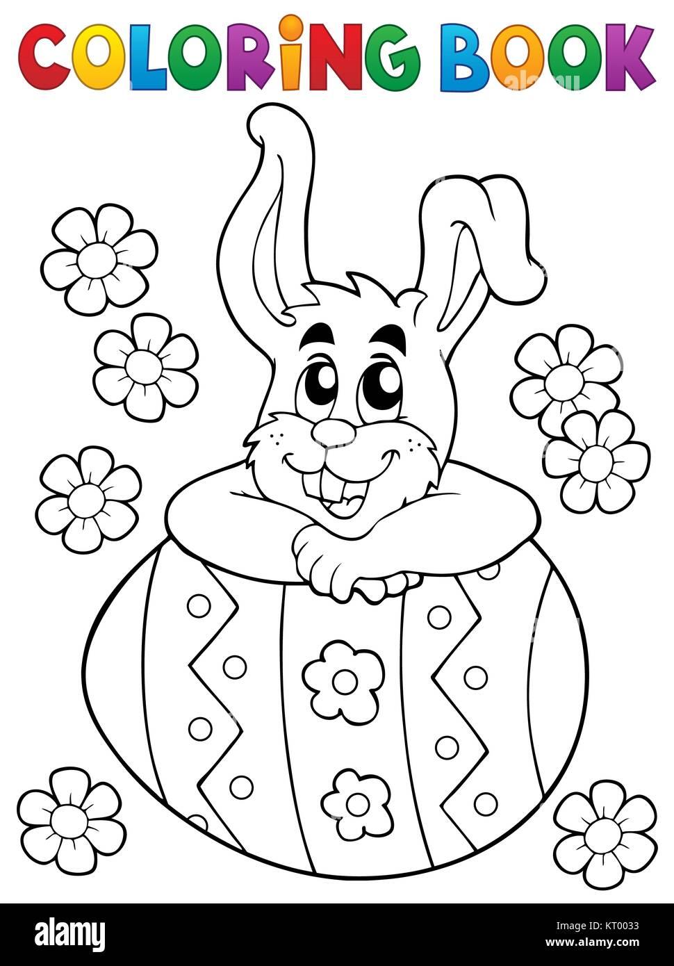 Libro para colorear de Conejo de Pascua Tema 4 Foto & Imagen De ...