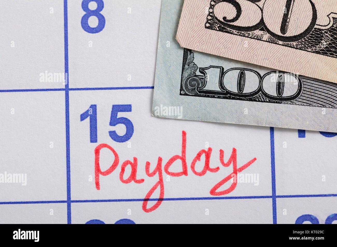 Close-up de pago Dia recordatorio de calendario Foto de stock