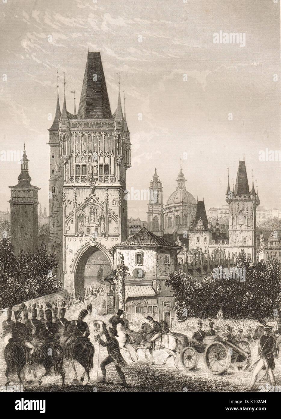 Praga ocupada por las tropas aliadas, Guerras Napoleónicas, 1813 Foto de stock