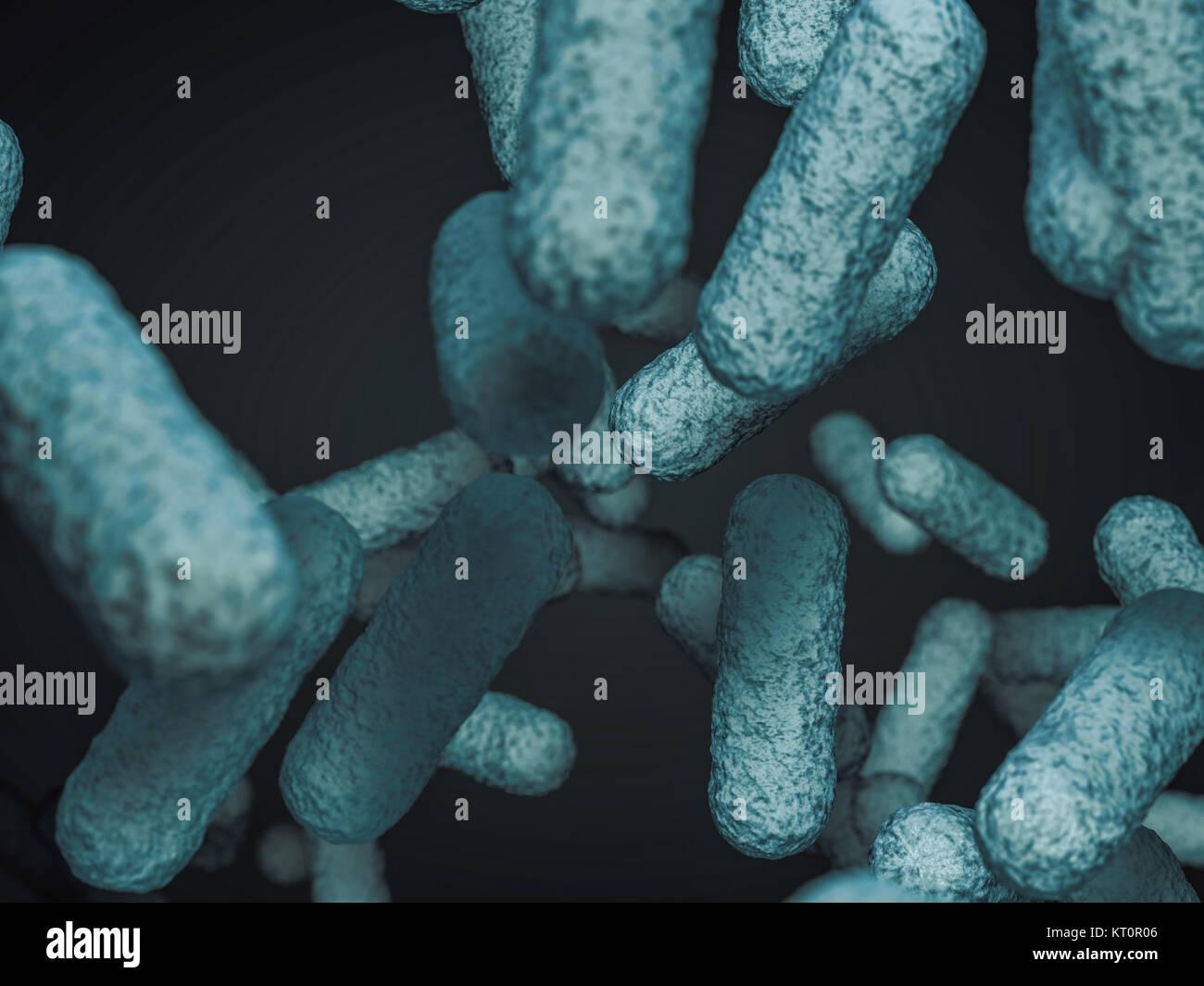 Cerca de bacterias microscópicas. 3D rendering Foto de stock