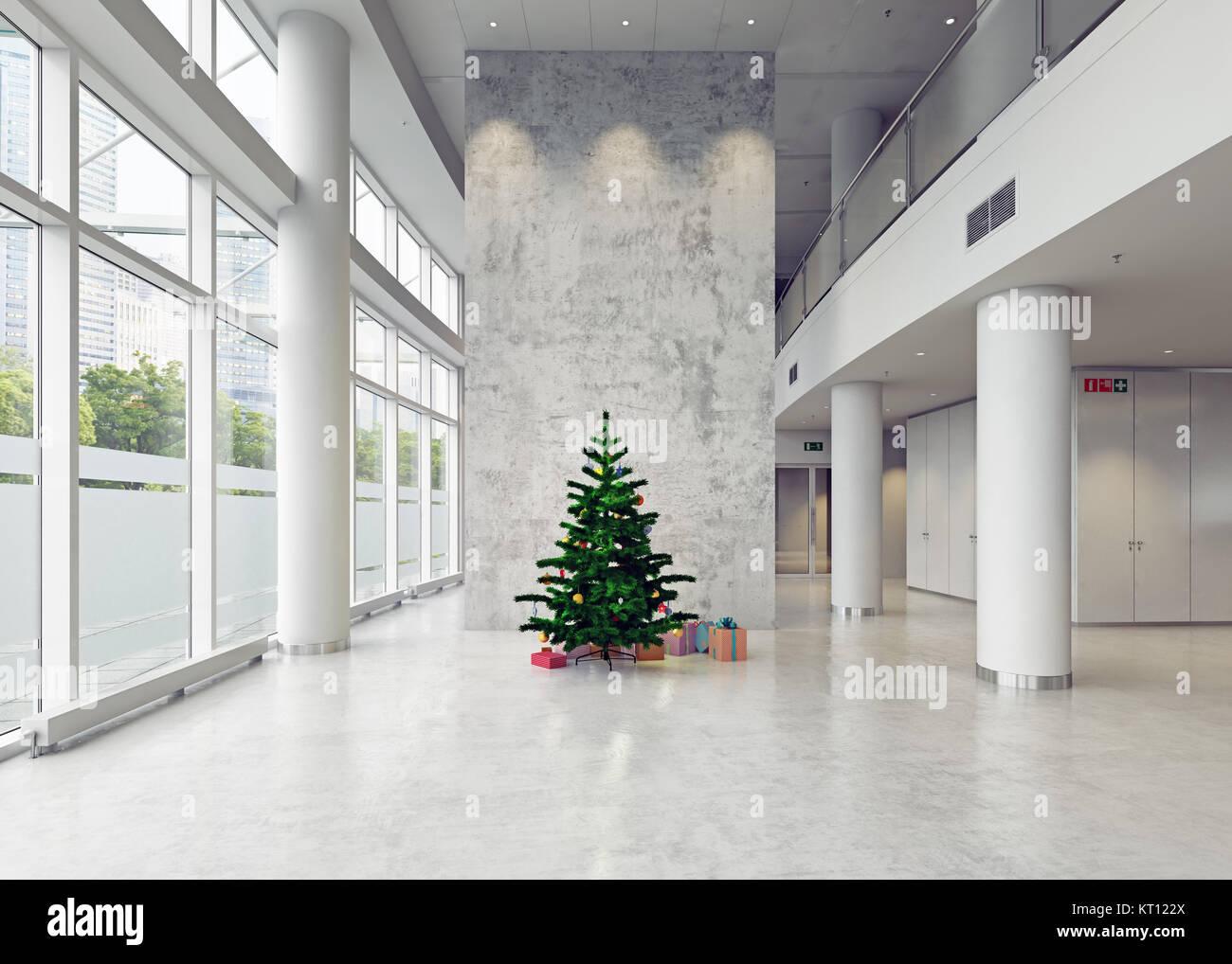 La moderna arquitectura de navidad, sala de negocios. Concepto 3d Imagen De Stock