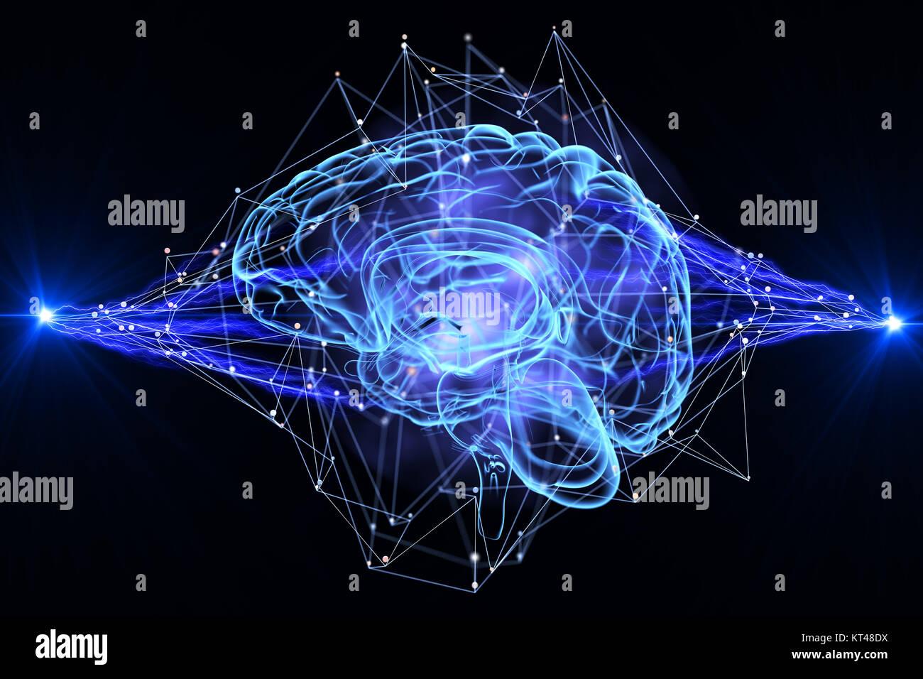 Inteligencia Artificial. Ilustración 3D Imagen De Stock