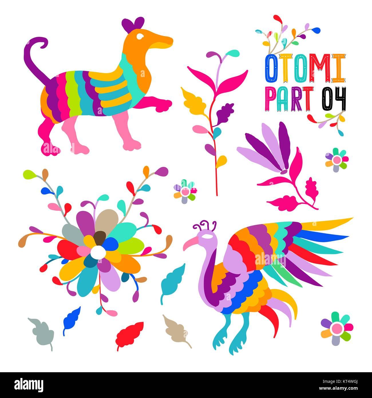 Folk vectorial Bordado estilo otomí mexicanos juego de patrones. Los ...