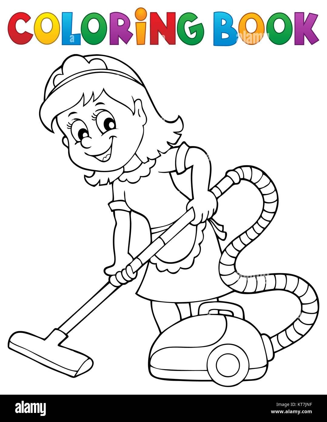 Libro Para Colorear De Dama De Limpieza 1 Foto Imagen De Stock