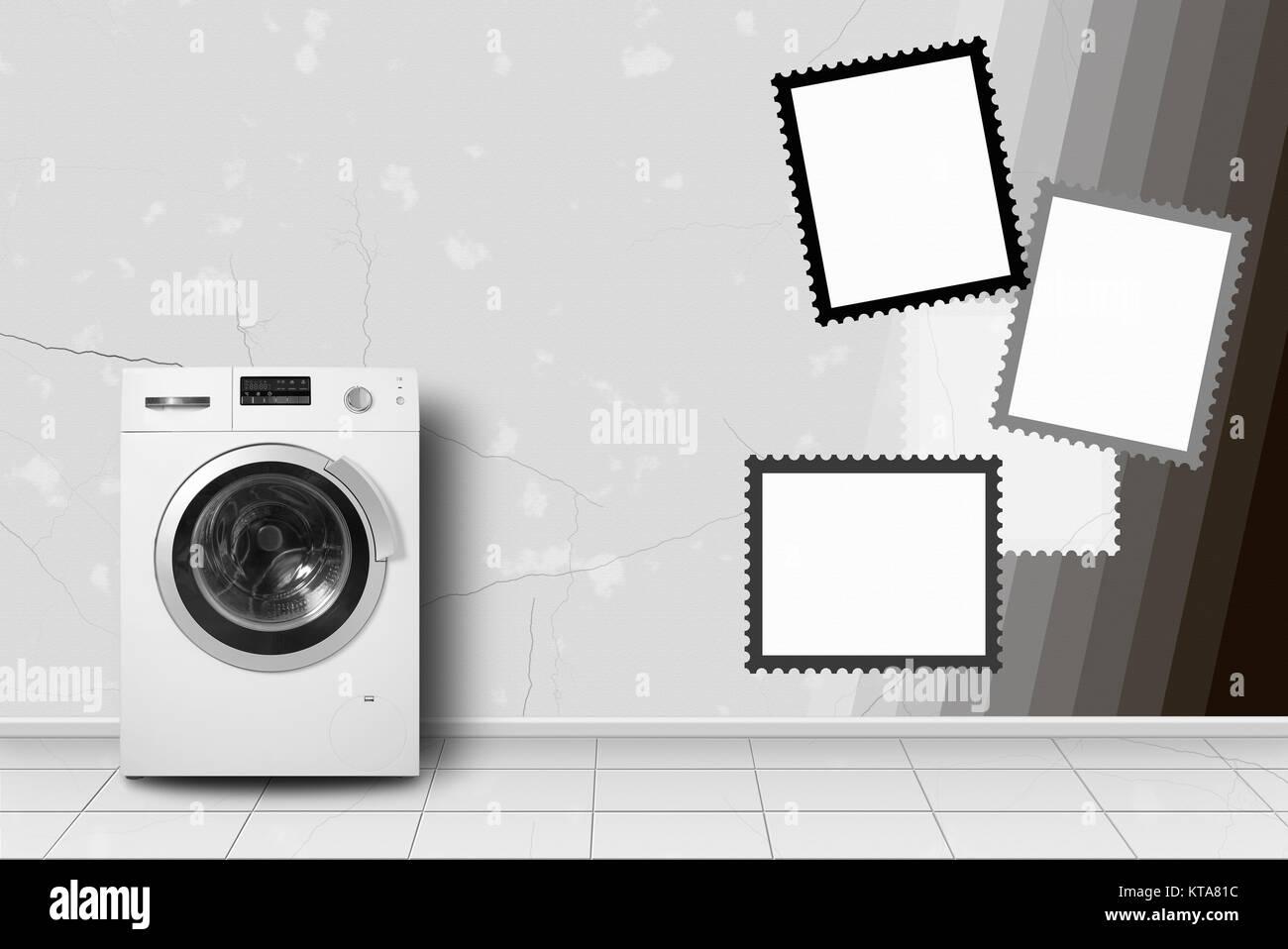Electrodoméstico - Lavadora en interior en una estampilla de pared ...