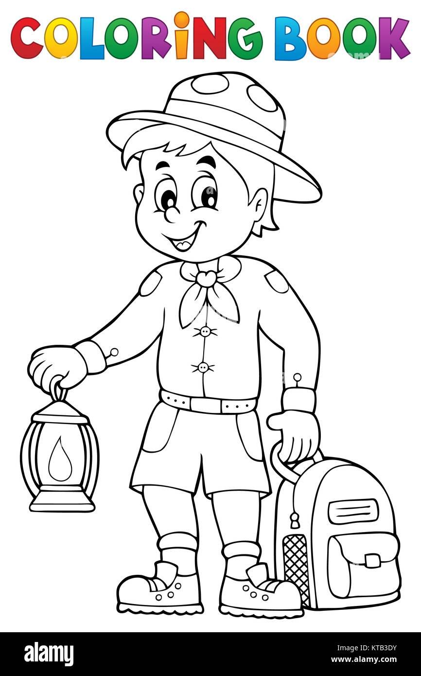 Libro para colorear de boy scout Tema 3 Foto & Imagen De Stock ...