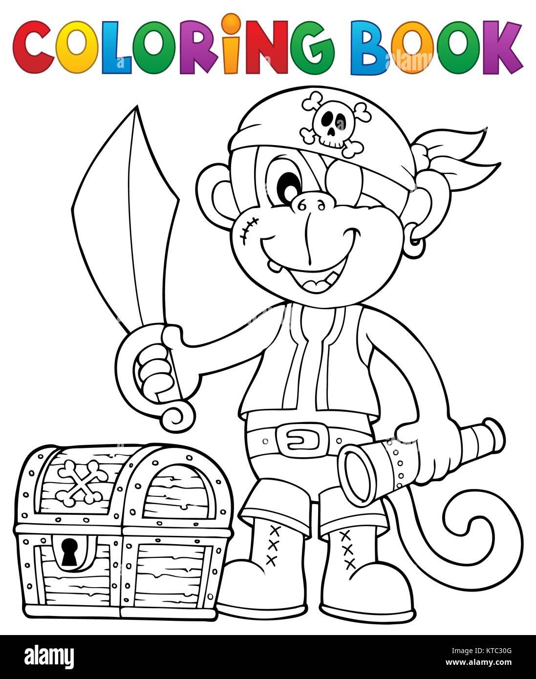 Libro para colorear pirata mono imagen 2 Foto & Imagen De Stock ...