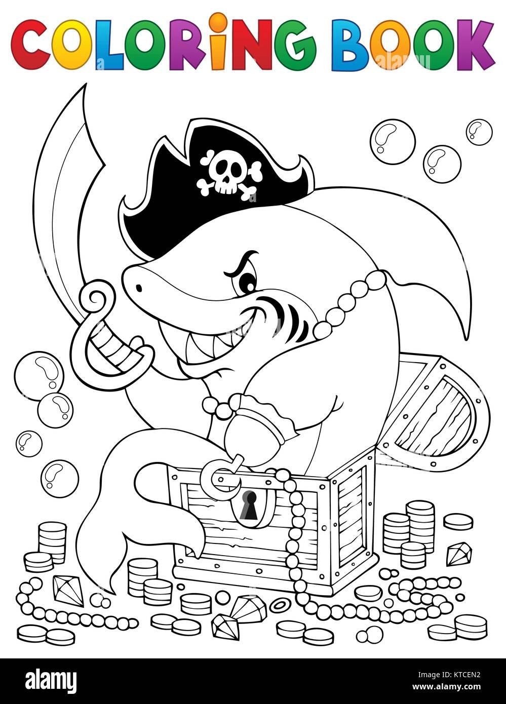 Libro para colorear de tiburón con tesoro pirata Foto & Imagen De ...