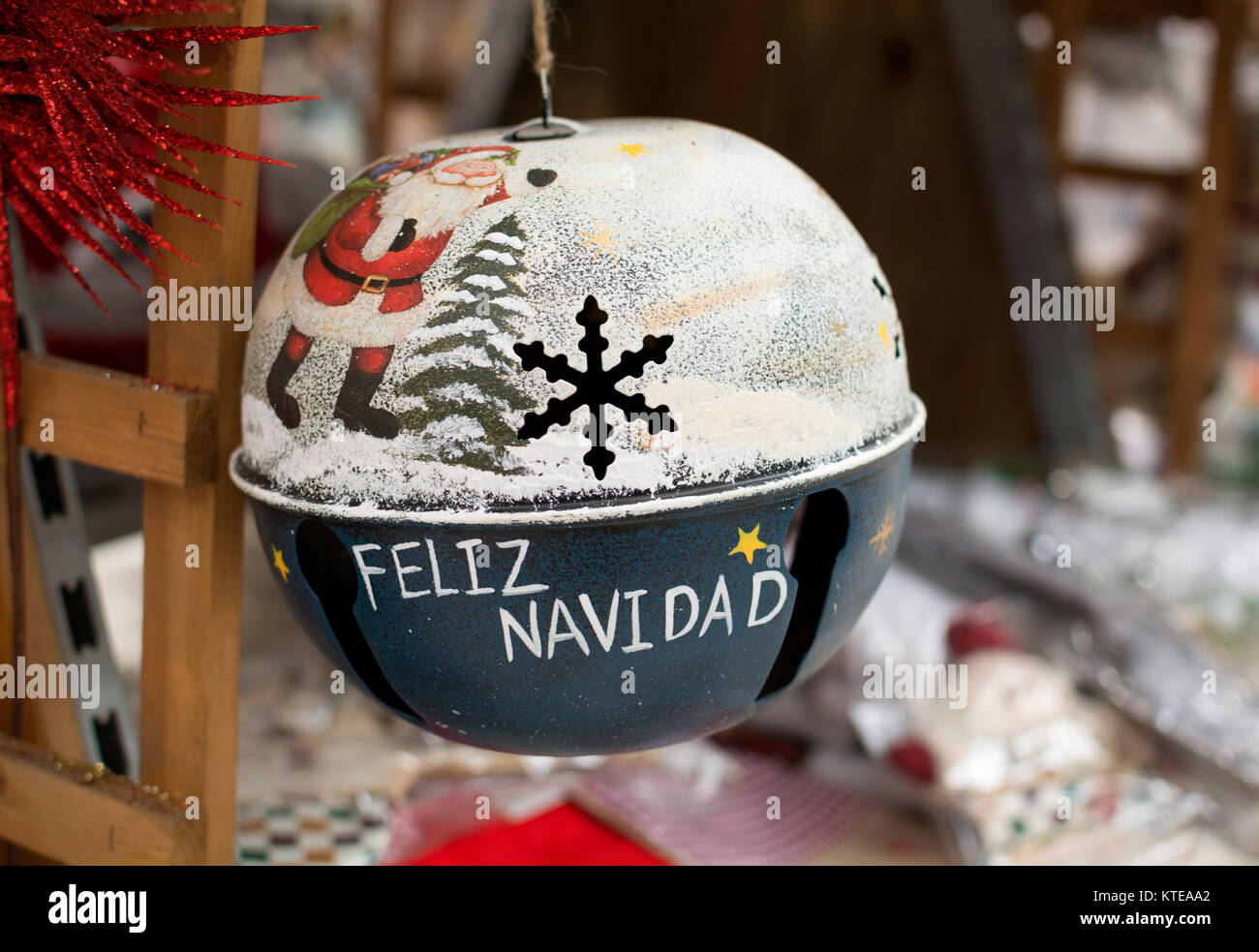 """""""Feliz Navidad"""" decoración navideña, Lanzarote, Islas Canarias, España. Imagen De Stock"""