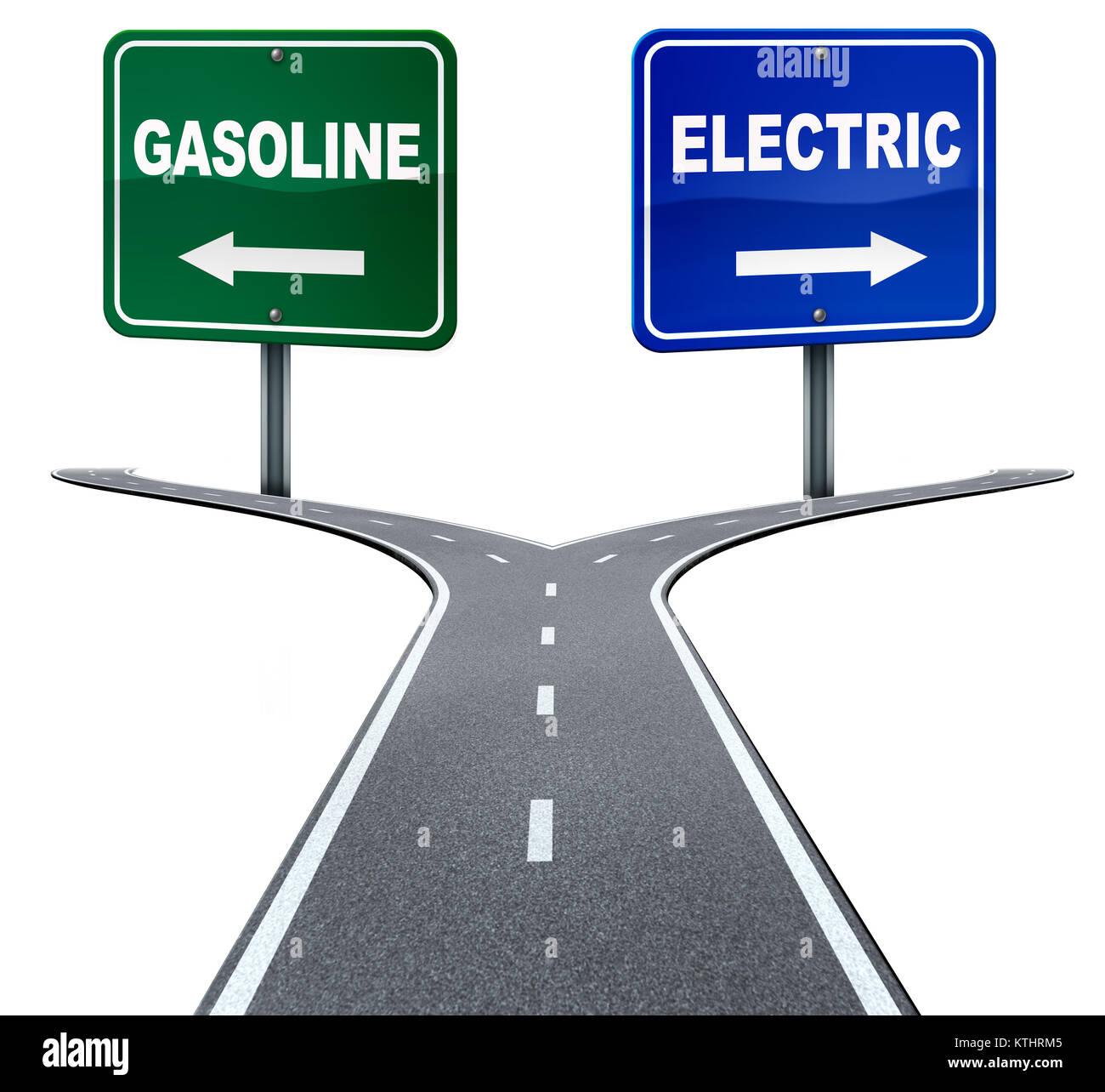 La industria de la energía eléctrica y de gasolina elección concepto en un cruce de caminos entre Imagen De Stock