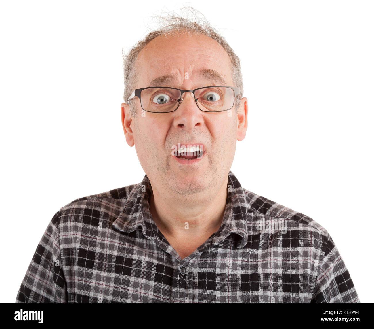 El hombre con aspecto de goofy dumbstruck Foto de stock