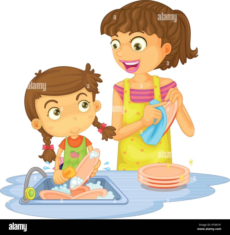 Ilustración De Una Niñas Lavando Platos En Un Fondo Blanco