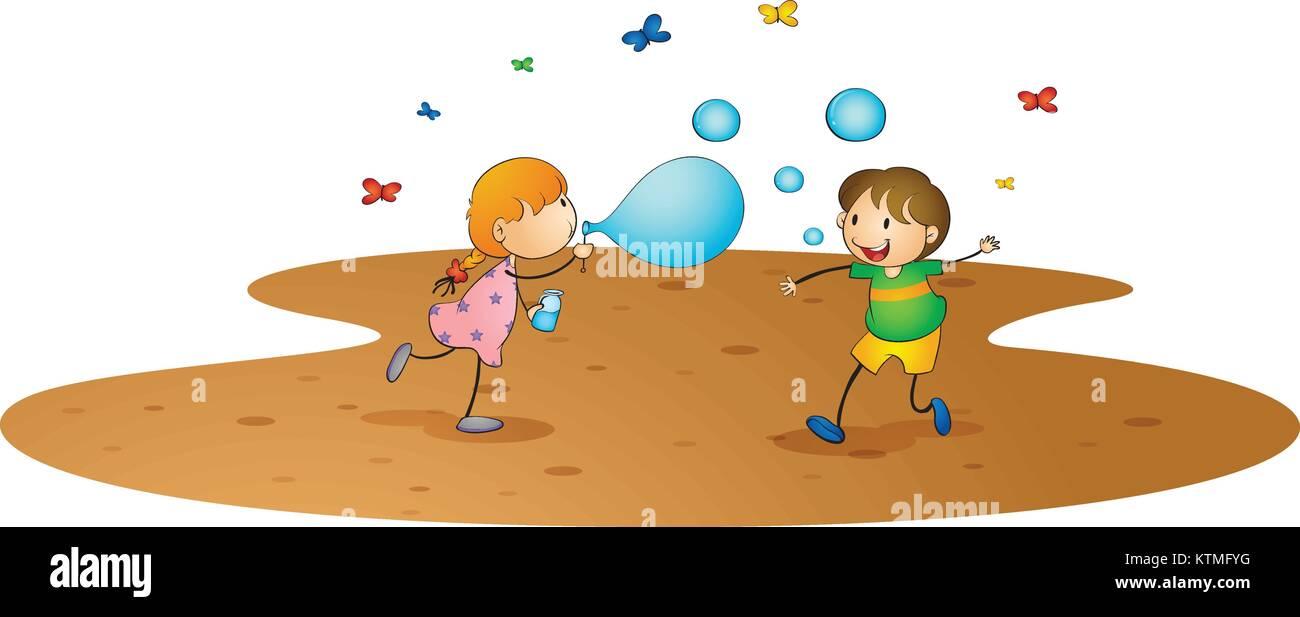 Ilustración de los niños sobre un fondo blanco. Ilustración del Vector
