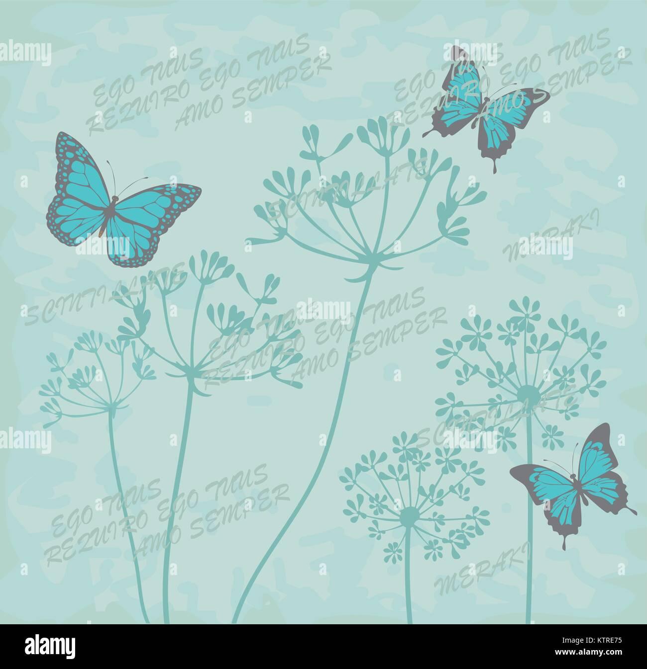 Ilustración Vectorial De Dibujos Florales Botánicos Con Mariposas
