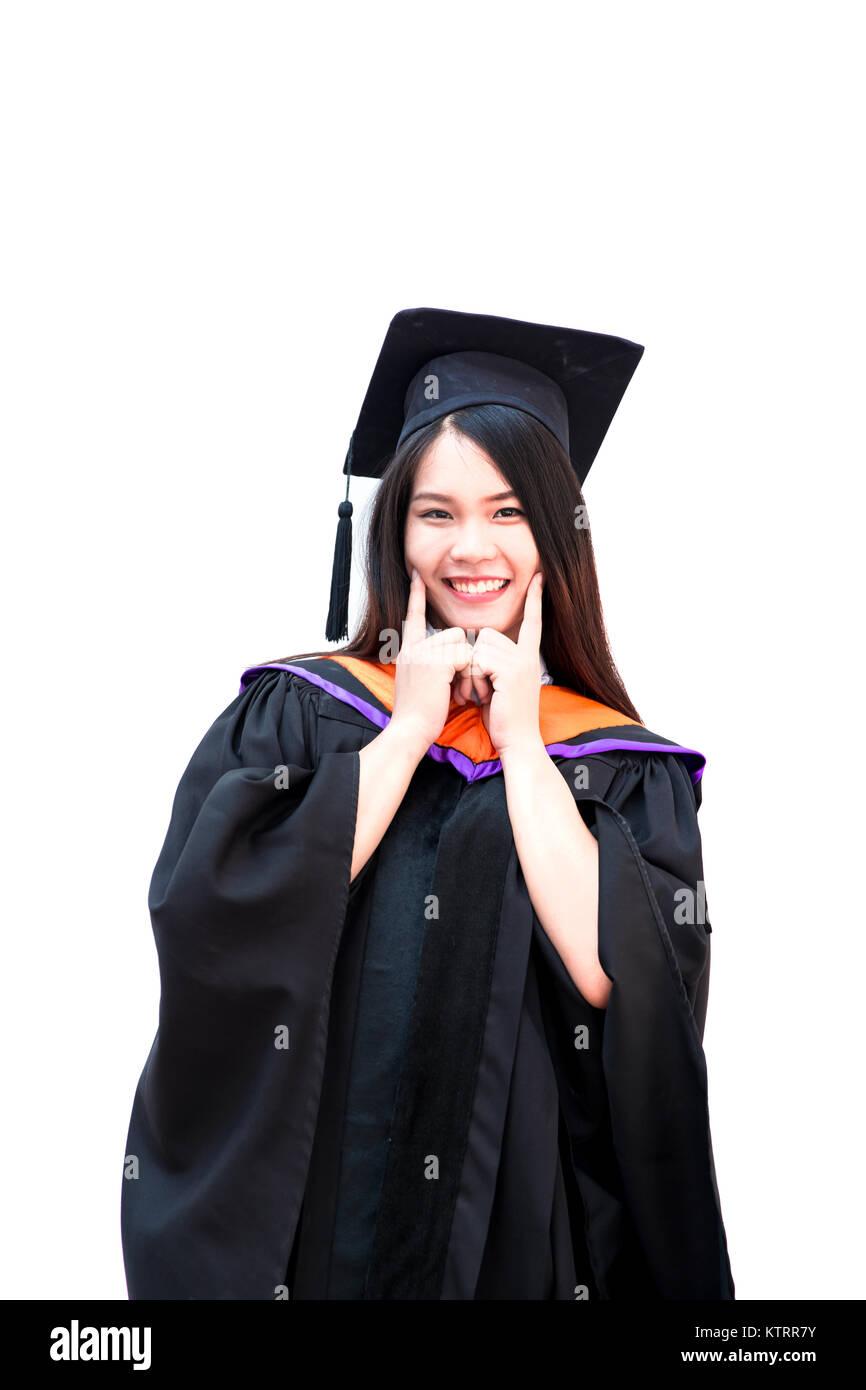 0ebf3d540 Lindo retrato mujer asiática sonrisa feliz graduación universitaria aislado  en blanco vestido Imagen De Stock