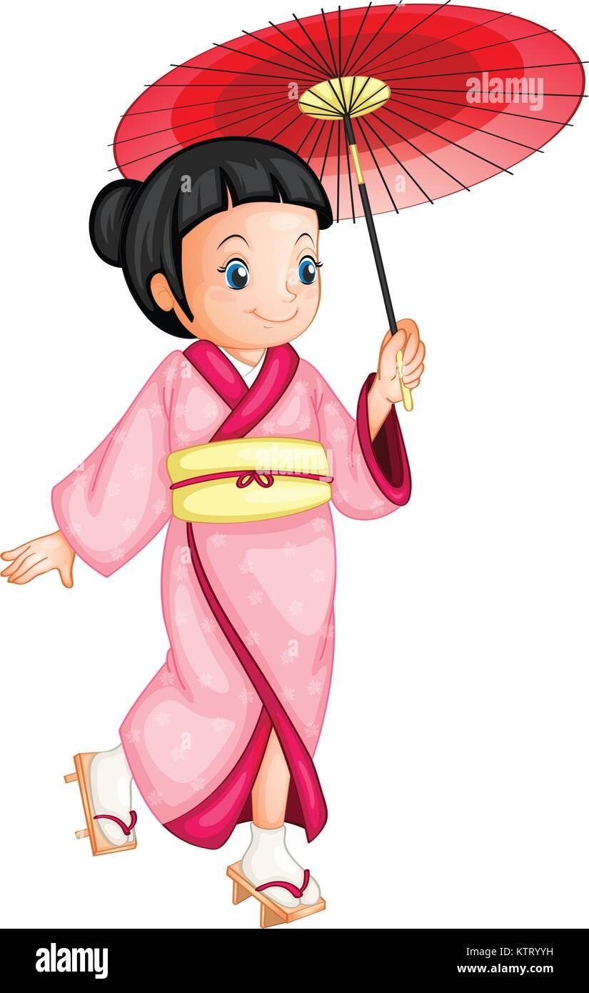 Ilustración De Una Geisha Japonesa Ilustración Del Vector Imagen