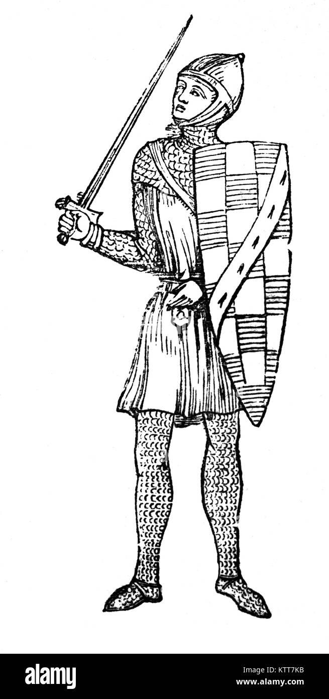 Guy de Beauchamp, 10º Conde de Warwick (c. 1272 - 1315) fue un escritor inglés de riqueza y uno de los principales opositores del rey Eduardo II y su favorito, Piers Gaveston. Se distinguió en la batalla de Falkirk y sirvió bajo el rey Edward I. tras la sucesión de Eduardo II en 1307, cayó con el nuevo rey y fue uno de los principales arquitectos detrás de las ordenanzas de 1311, que limitó los poderes del rey. Foto de stock