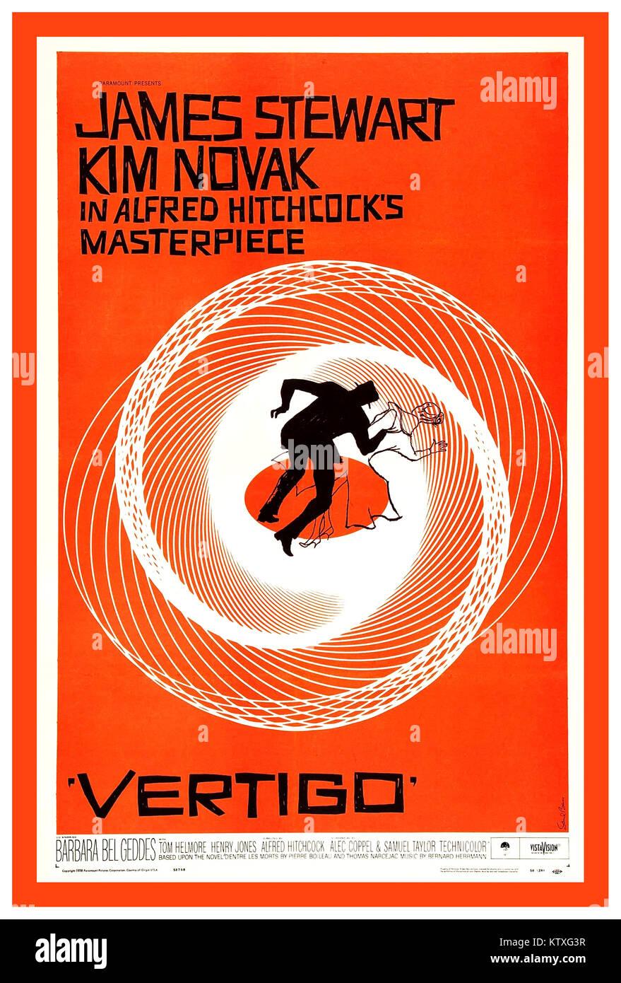 Póster de película retro Vintage 1958 vértigo por Alfred Hitchcock un thriller psicológico película Imagen De Stock