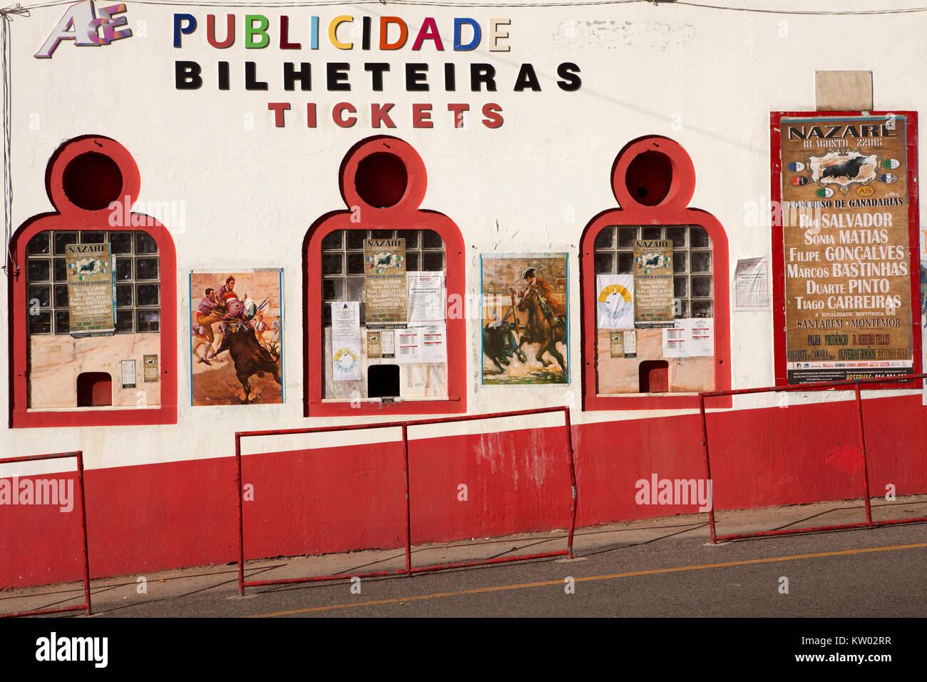 La taquilla en la plaza de toros en Nazare en Portugal. Los toros no son cd6d97d59eb