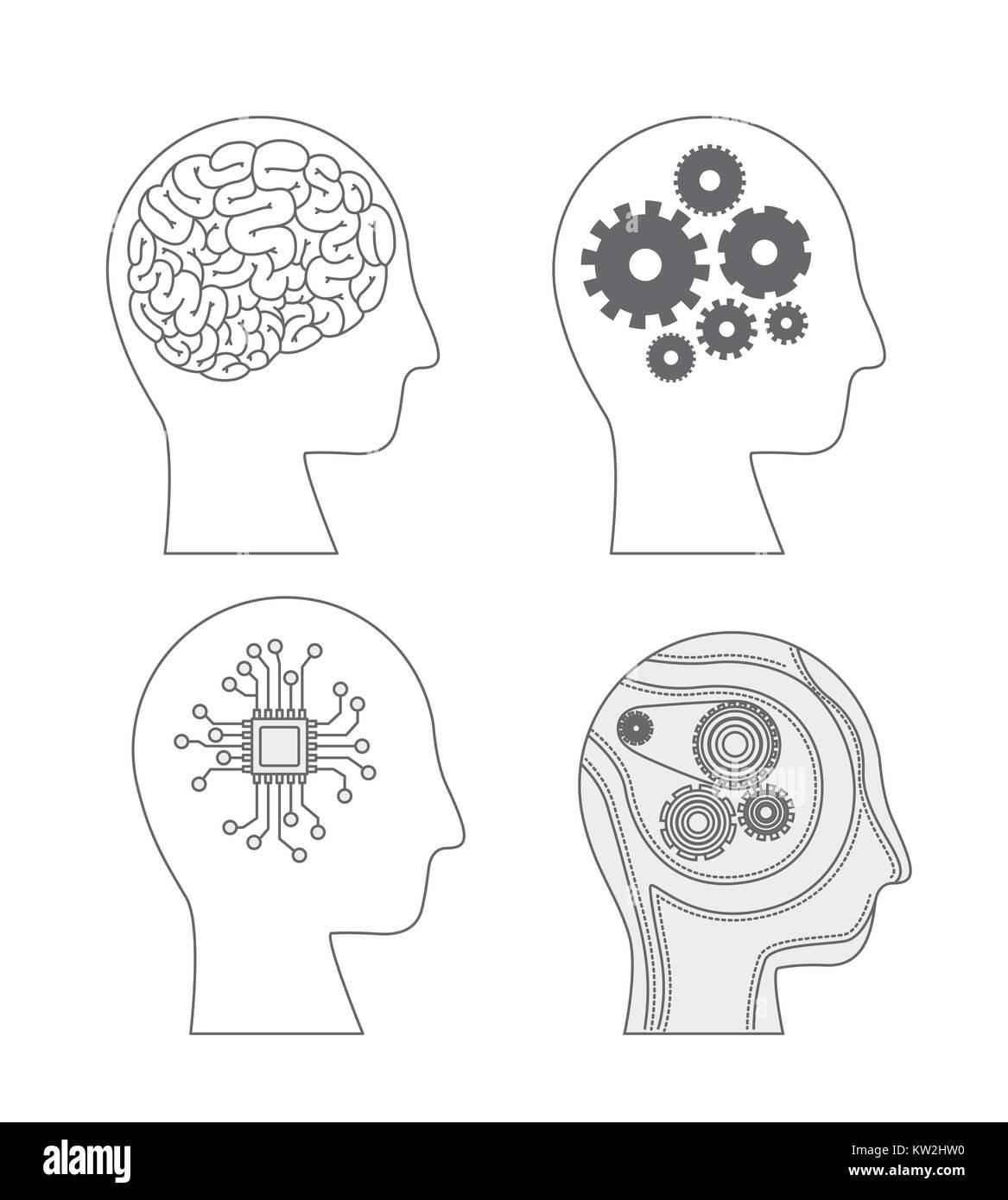 Los seres humanos jefes Vista lateral con cerebros híbridos en monocromo silueta Imagen De Stock
