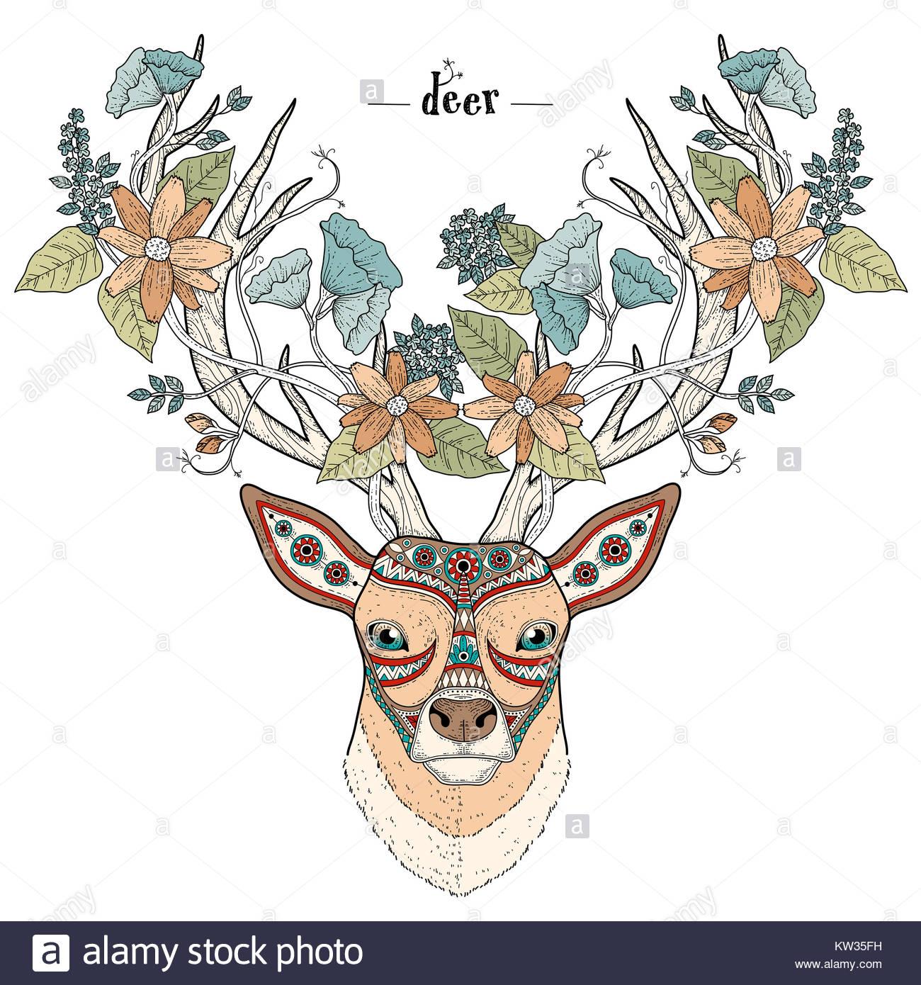 Página para colorear cabeza de ciervo elegante en un estilo ...