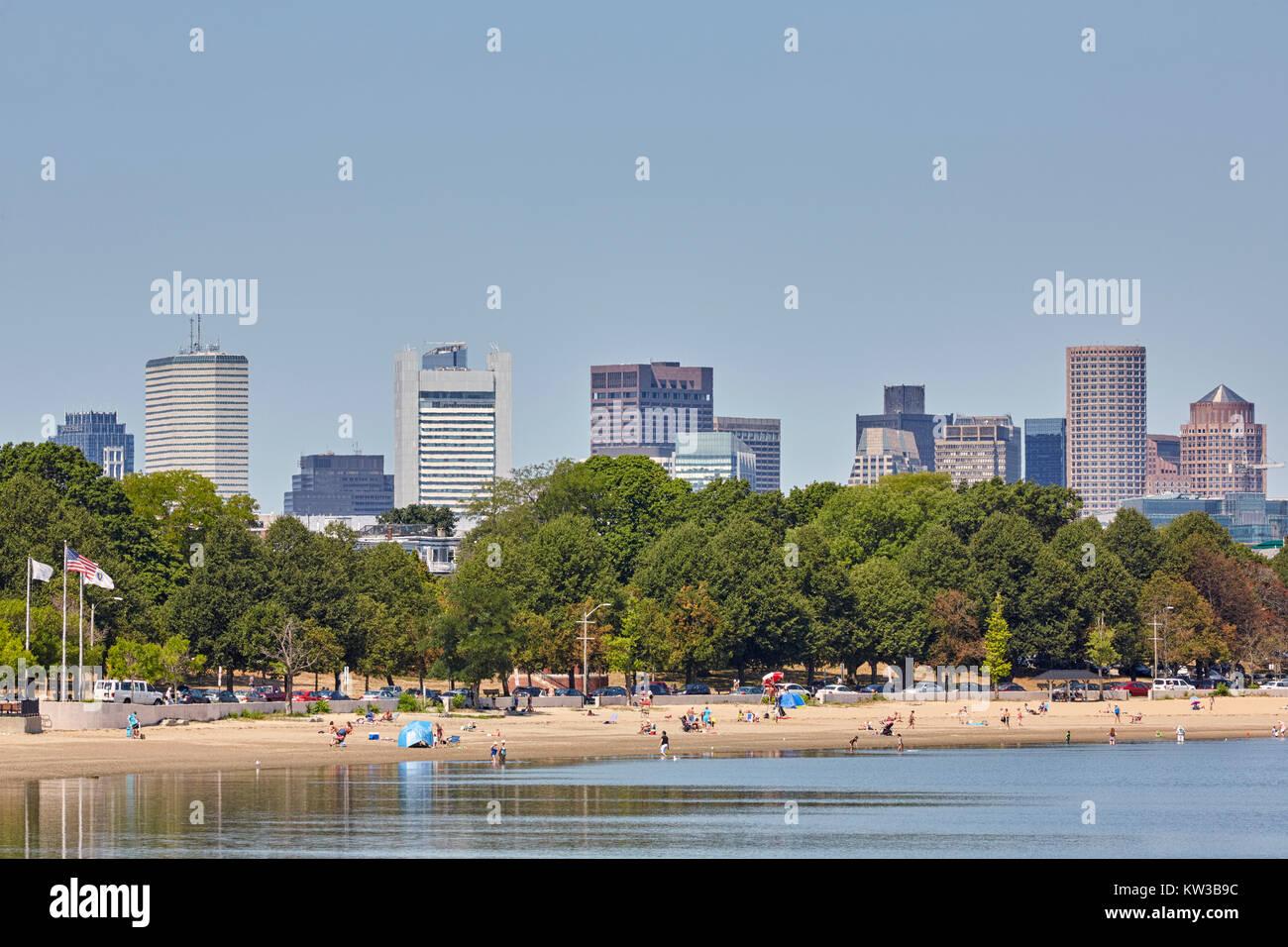 Placer Bay Beach, cerca de Castle Island, South Boston, Massachusetts, EE.UU. Foto de stock