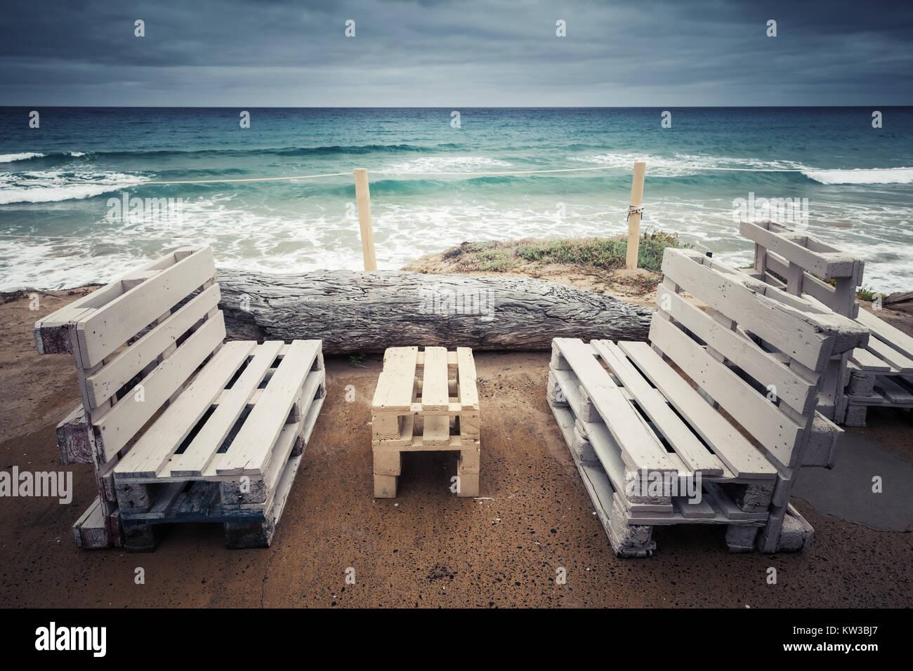 Muebles De Madera Blancos Est Ndar De Palets De Carga Terraza  # Muebles Costera