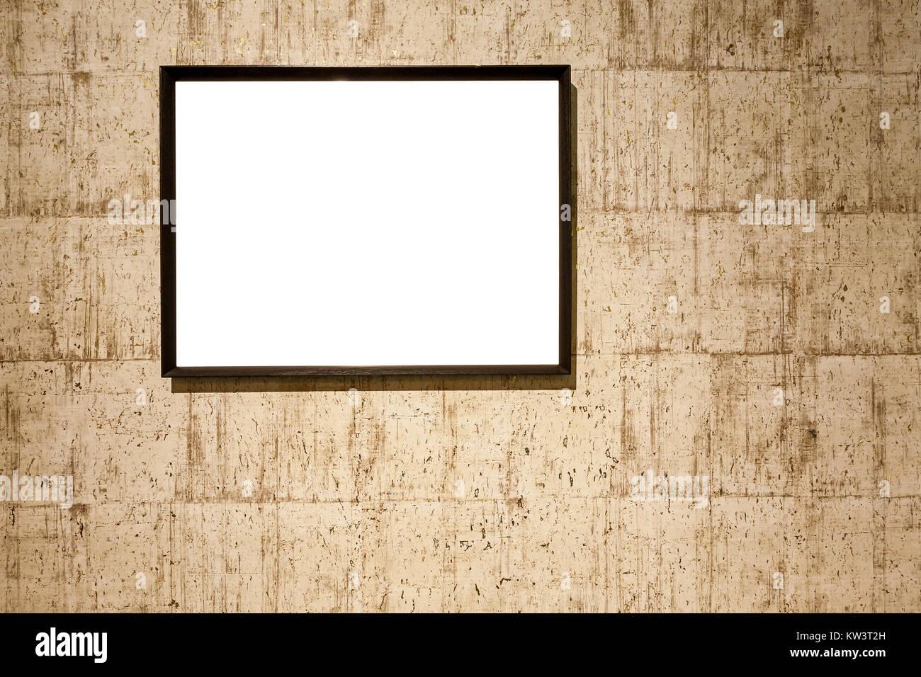 Marcos de fotos en blanco en la pared.Envejecido textura de pared ...
